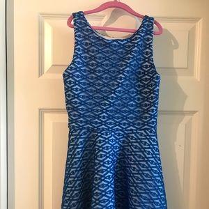 Girls Dress: Beautiful blue overlay on white